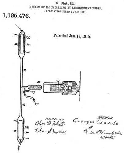 Patent Georga Claude na neonówkę