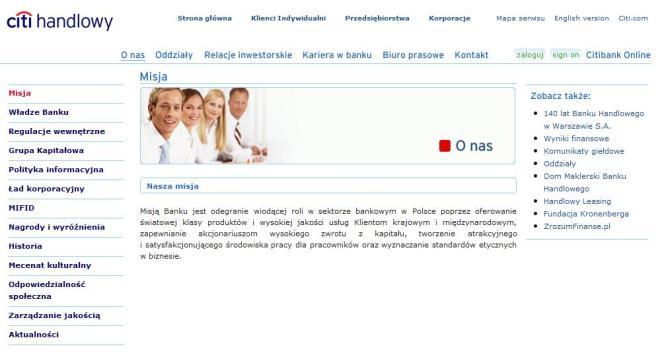 Citi handlowy misja ze strony internetowej
