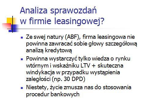 Analiza sprawozdań finansowych klienta w firmie leasingowej