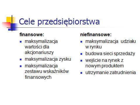 Cele przedsiębiorstwa - finansowe i niefinansowe