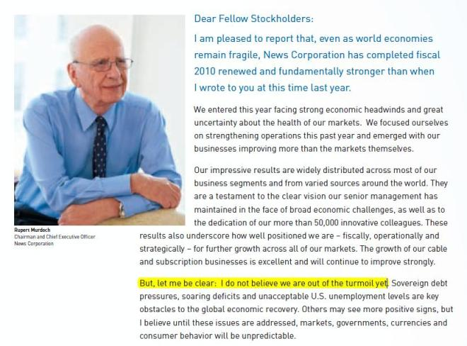 Murdoch przewidział kłopoty w liście do akcjonariuszy