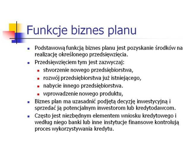 Funkcje biznes planu