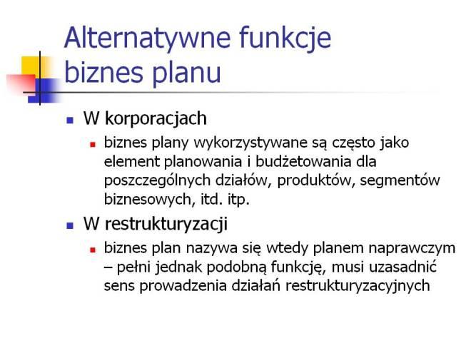 Alternatywne funkcje biznes planu
