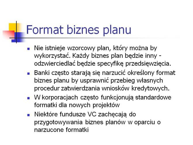 Format biznes planu
