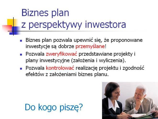 Biznes plan z perspektywy inwestora