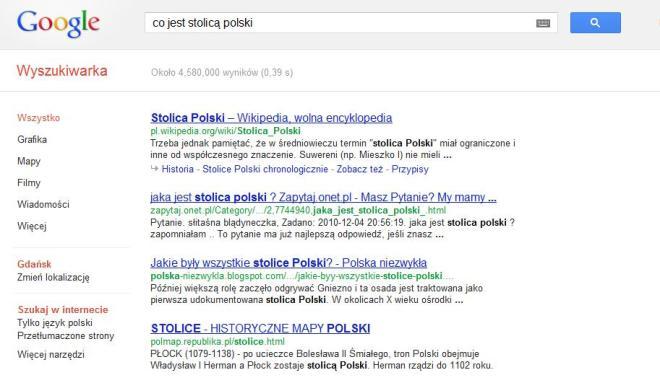 Google pytanie o stolicę Polski