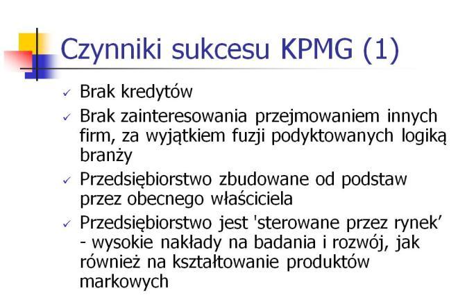 Kluczowe czynniki sukcesu KPMG 1993 (recesja)