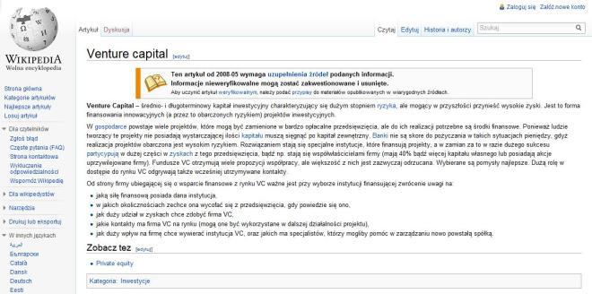 Venture Capital definicja w Wikipedii