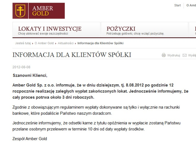 Amber Gold komunikat dla klientów 2012-08-08