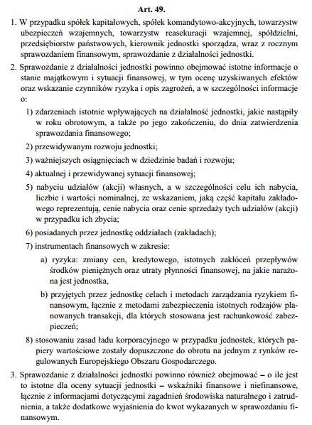 Art 49 ustawy o rachunkowości o sprawozdaniu z działalności