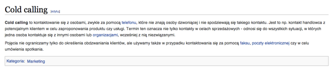 Cold calling wikipedia pl