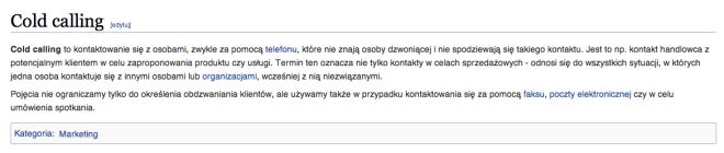Cold calling wikipedia pl
