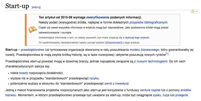 zrzut ekranu - definicja start-up w wikipedii polskiej